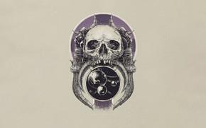 Picture Minimalism, Skull, Space, Bones, Art, Sake, Illustration, Bones, Vlad Gradobyk, by Vlad Gradobyk