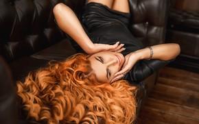 Picture hair, Girl, lies, red, curls, A Diakov George