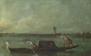 Picture boat, picture, Francesco Guardi, Francesco Guardi, Gondola in the lagoon near Mestre
