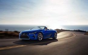 Picture road, speed, Lexus, Convertible, LC 500, 2021