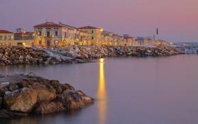 Picture sea, lights, shore, home, Italy, Tuscany, Marina di Pisa