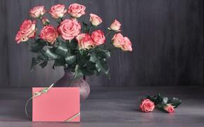 Picture roses, bouquet, Pink, vase, Anya Ivanova