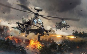 Picture fire, sparks, helicopters, War Thunder, Attack Helicopter