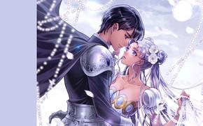 Picture girl, romance, anime, art, pair, guy, sailor moon