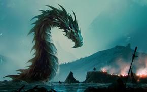 Picture Dragon, Lake, Fire, Monster, Warrior, Destruction, Fantasy, Dragon, Art, Fiction, Giant, Omar Bronze, by Omer …
