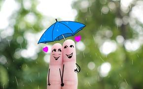 Picture love, happiness, rain, umbrella, fingers, a couple