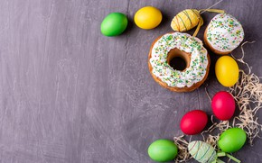 Picture holiday, eggs, Easter, straw, cake