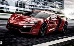 Picture Red, Auto, Machine, Supercar, Rendering, Concept Art, The front, Sports car, Lykan, Game Art, Transport ...