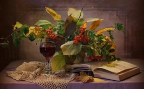 Picture leaves, branches, berries, glass, book, drink, still life, table, Rowan, napkin, Kovaleva Svetlana