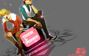 Picture background, art, guys, Kotetsu, Tiger and Bunny, Barnaby, Tiger & Bunny