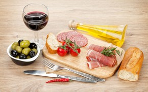 Picture wine, glass, oil, bread, Board, tomatoes, olives, sausage, bacon