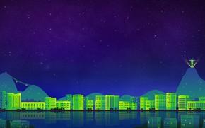Picture The sky, Minimalism, Night, The city, Art, Digital, Rio de Janeiro, Illustration, Rio De Janeiro, …