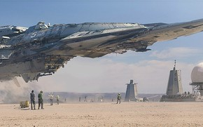 Picture ship, facilities, the spaceport, staff, Destroyer Landing