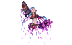 Picture girl, smile, white background, Jinx, Legends of Runeterra