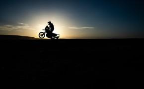 Picture The sun, Sport, Race, Silhouette, Motorcycle, Bike, Dakar, Dakar, Moto