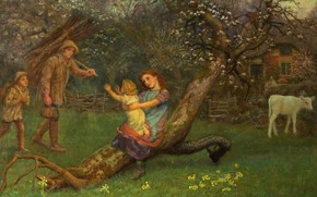 Picture tree, family, calf, Arthur Hughes, Return from work
