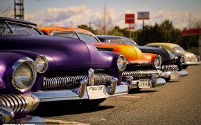 Picture Orange, Purple, Cars, Vintage, Parking