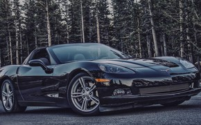 Picture road, black, Corvette, Chevrolet Corvette, Chevy