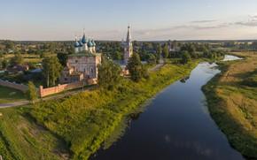 Picture summer, landscape, nature, river, village, Church, Dunilovo, Thesis