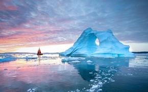 Picture boat, iceberg, sail, Greenland, Disko Bay