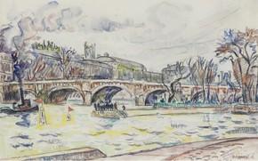 Picture bridge, the city, river, figure, watercolor, Paul Signac, The Pont-Neuf. Paris, Paul Signac