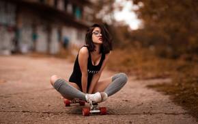 Picture look, pose, model, makeup, figure, glasses, hairstyle, brown hair, legs, knee, the sidewalk, sitting, skate, …
