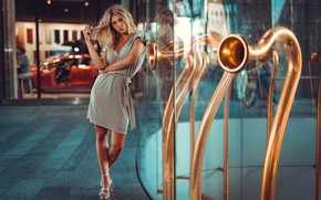 Wallpaper reflection, Girl, dress, blonde, shoes, legs, Sofy, Marco Squassina