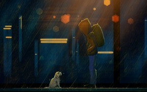Picture Night, Dog, Boy, People, Rain, Puppy, Fantasy, Art, Art, Fiction, The shower, Josef Bartoň, Satellites, …