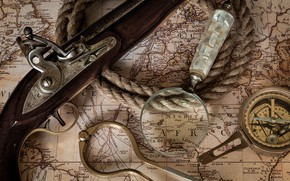 Picture map, rope, magnifier, compass, pistol