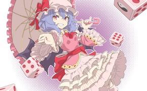 Picture girl, smile, umbrella, Touhou, the dice, Touhou, Touhou