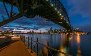 Picture night, bridge, the city, lighting, Australia, Bay, Sydney