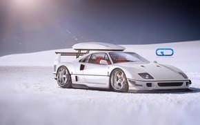 Picture Auto, White, Machine, Ferrari, Digital Art, Rendering, Ferrari F40, Sports car, Ferrari F-40, F-40, Christer …