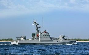 Picture boat, armored, artillery, Костопиль