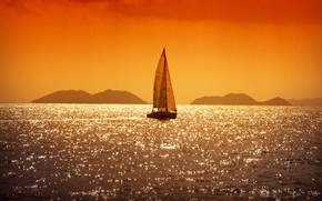 Picture sea, Islands, sunset, reflection, the evening, yacht, sail, sunset, reflections, sailing, Adriatic, yacht charter Croatia