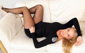 Picture look, girl, pose, model, dress, legs, beauty