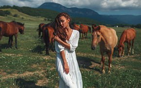 Picture animals, the sky, clouds, nature, model, dress, horse, Gregory Levin
