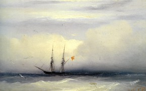 Picture picture, seascape, Ivan Aivazovsky, Ship in a Stormy Sea