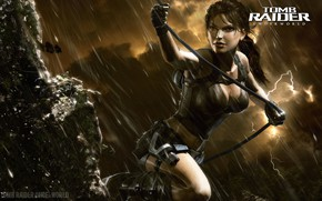 Picture the storm, girl, clouds, rain, lightning, Tomb Raider, Lara Croft, Lara Croft, Tomb Raider: Underworld