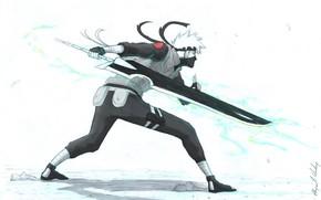 Picture art, white background, naruto, Kakashi Hatake