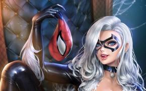 Picture mask, Marvel, Comics, MARVEL, Spider-Man, Felicia, Black Cat, black cat
