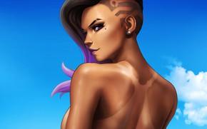 Picture the sky, look, girl, tan, girl, beautiful, Blizzard, sky, beautiful, look, tan, hacker, Overwatch, Sombra, …