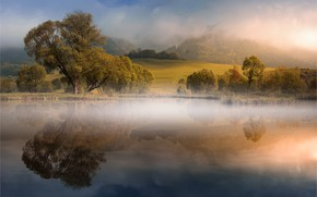 Picture autumn, clouds, trees, fog, reflection, hills, shore, pond