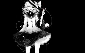 Picture girl, black background, scissors, Touhou, Touhou, Touhou, anime game