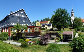 Picture the sky, the sun, trees, flowers, home, Germany, the bushes, Weir village