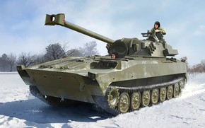 Picture Art, self-propelled gun, The armed forces of Russia, Host, Self-Propelled Howitzer/Mortar, Hosta, Russian 2S34