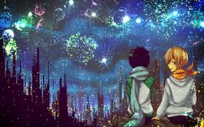 Picture night, the city, fireworks, Durarara, Durarara, Masaomi Kedar, Mikado Ryugamine