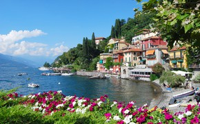 Picture flowers, lake, home, Italy, Petunia, Lombardy, Como, Varenna
