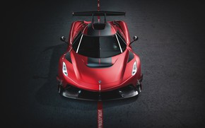 Picture Koenigsegg, supercar, front view, hypercar, 2019, Jesko, 1600 HP, Cherry Red Edition