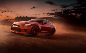 Picture speed, dust, the evening, Nissan, GT-R