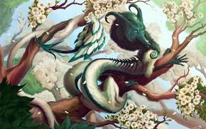 Picture horns, horns, blue sky, flowering trees, blue sky, fantasy art, green foliage, flowering trees, fabulous …